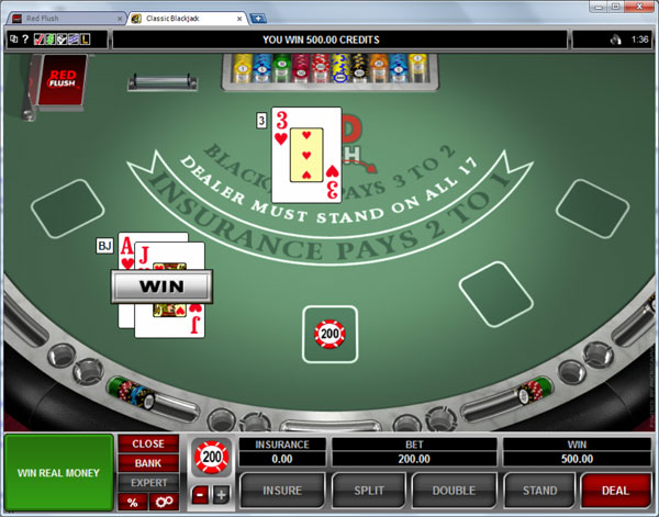 online casino black jack sizzling game